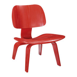 Scarlet Lounge Chair - Simple layered veneer takes on a high-end feel with this deceptively comfortable chair. The unique buffered design ensures that the chair is sturdy but flexible, cushioning and supporting the body's movement. Its eye-catching color makes it well-suited to draw attention in the room.