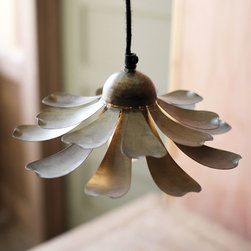 Daisy Pendant Lamp - Add a little flower power to your lighting with this raw metal lamp. With its rustic, aged look, it would look amazing in multiples over a scrubbed wood table or breakfast bar.