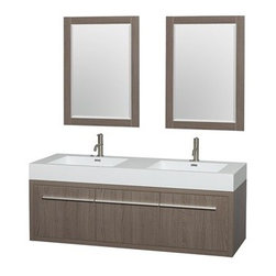 """Wyndham Collection(R) - Axa 60"""" Wall-Mounted Bathroom Vanity Set With Integrated Sinks by Wyndham Collec - The Wyndham Collection is an entirely unique and innovative bath line. Sure to inspire imitators, the original Wyndham Collection sets new standards for design and construction. The bold ultra-modern and visually stunning design of the Axa wall-hung vanity makes a powerful statement while incorporating generous counter space and storage for bath items. The one of a kind styling ensures a high-end look at a very reasonable price and brings an element of contemporary sophistication to a fabulous bathroom remodel. Satin Chrome accents finish the look - it's quite remarkable, and all the more so in person. Axa Bathroom Vanities are available in multiple sizes and finishes.FeaturesConstructed of beautiful veneers over the highest grade MDF, engineered for durability to prevent warping and last a lifetime 8-stage preparation, veneering and finishing processHighly water-resistant low V.O.C. sealed finishUnique and striking contemporary designModern Wall-Mount DesignMinimal assembly requiredDeep Doweled DrawersFully-extending side-mount soft-close drawer slides Concealed soft-close door hinges Backsplash not availableOne-piece acrylic-resin integrated sink(s) Integrated Square sink(s) Single-hole faucet mountsFaucet(s) not includedMatching mirror(s) includedMetal exterior hardware with satin chrome finish Two (2) functional doors One (1) functional drawer Plenty of storage space Plenty of counter spaceIncludes drain assemblies and P-traps for easy assembly How to handle your counter Spec Sheet for Vanity Installation Guide for VanitySpec Sheet for 24"""" Mirror Spec Sheet for 58"""" Mirror Spec Sheet for Amare Rotating Wall Cabinet with Mirror (WC-RYV202) Spec Sheet for Amare Bathroom Wall Cabinet (WC-RYV205) Installation Guide for Amare Bathroom Wall Cabinet (WC-RYV205) Spec Sheet for Amare Bathroom Wall Cabinet (WC-RYV207-WC)Installation Guide for Amare Bathroom Wall Cabin"""