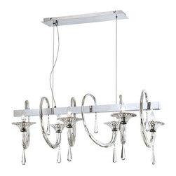 Eurofase Lighting - Eurofase Lighting 25710 Shiraz 6 Light Single Tier Crystal Linear Chandelier - Features: