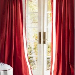 Sandy Wilson China Curtain Panel Pair - Bring boldness to your room with the Sandy Wilson China Curtain Panel Pair, which come in a deep cherry red with thick strips of a striking white that runs along the top and center hems. The pole top curtains are made of satin. About ACG Green Group, Inc.ACG Green Group is a home furnishing company based in Irvine, California and is a proud industry partner with the American Society of Interior Designers. ACG Green features Jennifer Taylor and Sandy Wilson, their exclusive home decor lines. These two complete collections offer designer home furniture, bedding sets, dining linens, curtains, pillows, and more in classic silhouettes, original designs, and rich colors to complement your home and life.