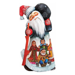 "Artistic Wood Carved Santa Claus Midnight Dance Party Sculpture - Measures 8.5""H x 4.25""L x 4""W and weighs 4 lbs. G. DeBrekht fine art traditional, vintage style sculpted figures are delightful and imaginative. Each figurine is artistically hand painted with detailed scenes including classic Christmas art, winter wonderlands and the true meaning of Christmas, nativity art. In the spirit of giving G. DeBrekht holiday decor makes beautiful collectible Christmas and holiday gifts to share with loved ones. Every G. DeBrekht holiday decoration is an original work of art sure to be cherished as a family tradition and treasured by future generations. Some items may have slight variations of the decoration on the decor due to the hand painted nature of the product. Decorating your home for Christmas is a special time for families. With G. DeBrekht holiday home decor and decorations you can choose your style and create a true holiday gallery of art for your family to enjoy. All Masterpiece and Signature Masterpiece woodcarvings are individually hand numbered. The old world classic art details on the freehand painted sculptures include animals, nature, winter scenes, Santa Claus, nativity and more inspired by an old Russian art technique using painting mediums of watercolor, acrylic and oil combinations in the G. Debrekht unique painting style. Linden wood, which is light in color is used to carve these masterpieces. The wood varies slightly in color."