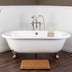 None - White Cast Iron Double-ended 66-inch Clawfoot Bathtub - Modeled after the original construction of claw foot tubs,this this classic design offers warmth,comfort and durability with its traditional cast iron make up. Complete with brass ball and claw feet,the style of this tub is timeless.