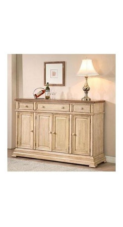 Winners Only - Quails Run 58 in. Sideboard Cabinet - Three drawers. Four doors. Almond and ebony finish. 58 in. W x 18 in. D x 40 in. H