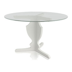 """Newport 3-Star Dining Table Base - Newport three-leg dining table base features lacquer finish. Measures 30d x 29. Glass top not included. Recommended glass top up to 44"""" diameter. Available in multiple colors. Made in Brazil. Imported."""