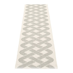 Pappelina - Pappelina Eira Plastic Runner, Stone Metallic - This rug from Pappelina, Sweden, uses PVC-plastic and polyester-warp to give it ultimate durability and clean-ability. Great for decks, bathrooms, kitchens and kid's rooms. Turn the rug over and the colors will be reversed!