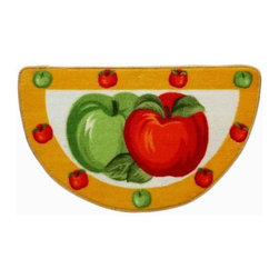 HLC.ME - HLC.ME Fresh Apple Slice Kitchen Rug with Anti-Slip Rubber Backing - 17.5 by 30 - One of the easiest ways to freshen up and improve the look and feel of your Kitchen is to add a new Kitchen Rug. For ultimate comfort Top made of 100% Polypropylene. For Non-slip feature bottom side made of 100% rubber. This HLC.ME Fresh Apple Slice Kitchen Rug will bring any kitchen freshness and change with its colors  print design  and unique fabric. This beautiful Fresh Apple Slice rug measures 17.5 by 30 Inches. Wonderful quality and beautiful vibrant coloring sure to bring out the best in your fruity themed kitchen.