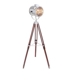 Lumisource - Ahoy Adjustable Height Floor Lamp - Color/Finish: Silver, Brown. Construction: Wood and metal. Uses one 60-watt type A lightbulb (not included). 30 in. L X 30 in. W X 62 in. H (highest setting). Light assembly required. 20 in. L x 20 in. W x 44 in. H (lowest setting). Weight: 10.5 lbs.The Ahoy Floor Lamp is truly stunning. This chrome spotlight features a brown wood tripod base which adjusts from 44 in. to 62 in.H. The spotlight can be positioned to create the perfect accent lighting and will give any room in your house a maritime flair.