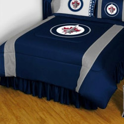 Sports Coverage - Winnipeg Jets Bedding - NHL Sidelines Comforter and Sheet Set Combo - Full - This is a great NHL Winnipeg Jets Bedding Comforter and Sheet set combination! Buy this Microfiber Sheet set with the Comforter and save off our already discounted prices. Show your team spirit with this great looking officially licensed Comforter which comes in new design with sidelines. This comforter is made from 100% Polyester Jersey Mesh - just like what the players wear. The fill is 100% Polyester batting for warmth and comfort. Authentic team colors and logo screen printed in the center. Microfiber Sheet Set have an ultra-fine peach weave that is softer and more comfortable than cotton! This Micro Fiber Sheet Set includes one flat sheet, one fitted sheet and a pillow case. Its brushed silk-like embrace provides good insulation and warmth, yet is breathable. It is wrinkle-resistant, stain-resistant, washes beautifully, and dries quickly. The pillowcase only has a white-on-white print and the officially licensed team name and logo printed in team colors. Made from 92 gsm microfiber for extra stability and soothing texture. Sheet Sets are plain white in color with no team logo.   Includes:  -  Flat Sheet - Twin 66 x 96, Full 81 x 96, Queen 90 x 102.,    - Fitted Sheet - Twin 39 x 75, Full 54 x 75, Queen 60 X 80,    -  Pillow case Standard - 21 x 30,    - Comforter - Twin 66 x 86, Full/Queen 86 x 86,