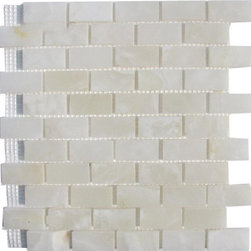 """Marbleville - White Onyx 1"""" x 2"""" Brick Pattern Polished Finish Mosaic in 12"""" x 12"""" Sheet - Premium Grade White Onyx 1"""" x 2"""" Brick Pattern Polished Mesh-Mounted Onyx Mosaic is a splendid Tile to add to your decor. Its aesthetically pleasing look can add great value to any ambience. This Mosaic Tile is made from selected natural stone material. The tile is manufactured to high standard, each tile is hand selected to ensure quality. It is perfect for any interior projects such as kitchen backsplash, bathroom flooring, shower surround, dining room, entryway, corridor, balcony, spa, pool, etc."""