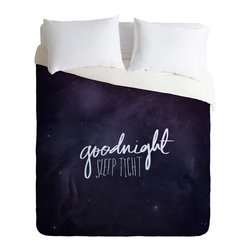 DENY Designs - Leah Flores Goodnight Duvet Cover - Turn your basic, boring down comforter into the super stylish focal point of your bedroom. Our Luxe Duvet is made from a heavy-weight luxurious woven polyester with a 50% cotton/50% polyester cream bottom. It also includes a hidden zipper with interior corner ties to secure your comforter. it's comfy, fade-resistant, and custom printed for each and every customer.