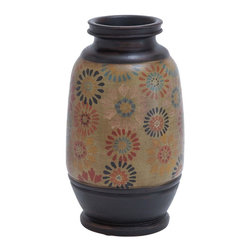 Benzara - Pot with Multicolored Patterns and Loral Motifs - While a house becomes a home due to the people who live inside, we can not take the credit away from the personalized decor that everyone opts for. This TERRACOTTA POT pot is the perfect decor item for creating impressions and earning your generous admiration. It reflects the personality and creates the house. Its corrugated, accordion-style finish is an art lover's delight and is a welcome breath away from the shiny and brash art that is so common these days. This pot adds depth to your space and brings anything you place in it, right into focus. The pot looks great even by itself with its porcelain like finish, when placed against a clear white background. A large bunch of flowers, some wild green grass, or any other artificial show stuff can complete it. Made from ceramic, this pot looks elegant.