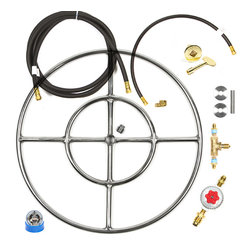 """EasyFirePits - 24"""" Deluxe DIY Fire Pit Kit w/ Lifetime Burner, Hoses, Key Valve Control, & All - FR24CK+ Complete Deluxe Do It Yourself (DIY) 24″ Double Ring Fire Ring Fire Table/ Fie Pit Kit (Complete from LP Tank Connection to Hoses to Key Valve Operation to Burner)."""