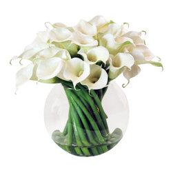 Winward Designs - Calla Lily In Glass Flower Arrangement - This stylish bowl of calla lilies will surely add sophistication to whatever room fortunate enough to be graced with it.