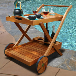 """Vifah - Outdoor Wood Serving Cart - Design: Entertain with simply lovely furniture that harmonizes with the beauty of nature. This gorgeous wood outdoor serving cart provides an easy way to roll the party into the fresh air. The bottom shelf has 3 compartments to stabilize breakable items and the handle can also serve as a towel bar. The upper tray conveniently lifts off, and rubber wheels have attractive wooden rims. Naturally beautiful FSC High Density Eucalyptus (Shorea) is tight grained to withstand a range of temperatures and conditions. Material: High Density Eucalyptus (or also known as Shorea in our line) is the premium grade of solid Eucalyptus Gradis hardwood, grown in 100 % well managed forests in Brazil, certified by the FSC (Forest Stewardship Council). There is little difference between High Density Eucalyptus (Shorea) and Teak when broken down to their core essence. The biggest attribute of High Density Eucalyptus (Shorea) is undoubtedly the strength of the timber. Its renowned for its excellent resistance to every day wear and tear. It is extremely durable and tightly grained to produce a desirable density. It remains unaffected by all variations in weather, especially its resistance to damp conditions makes itself extremely competent at combating insect attacks and decay. Features: FSC High Density Eucalyptus (Shorea) is pre-treated, expertly kiln-dried, extremely durable for outdoor/indoor use. FSC High Density Eucalyptus (Shorea) is mold, mildew, fungi, termites, rot and decay resistant. FSC High Density Eucalyptus (Shorea) is environmentally friendly and harvested from protected forests. Resists water penetration, for long lasting service. Removable top tray with handles. Compartments for bottle storage. Zinc-plated steel hardware. Made for outdoors but works indoors too. Complements any setting. Contempory yet timeless design. Dimensions: Length: 33""""; Width: 32""""; Height: 30"""""""