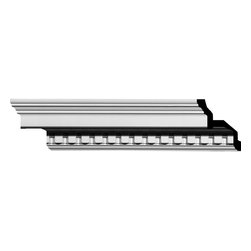 "Ekena Millwork - 4 1/2""H x 4 1/2""P x 6 3/8""F x 94 5/8""L Dentil Crown Moulding - 4 1/2""H x 4 1/2""P x 6 3/8""F x 94 5/8""L Dentil Crown Moulding. Our beautiful panel moulding and corners add a decorative, historic feel to walls, ceilings and furniture pieces- They are made from a high-density urethane which gives each piece the unique details that mimic that of traditional plasting and wood designs but at a fraction of the weight- This means a simple and easy installation for you- The best part is that you can make your own shapes and sizes by simply cutting the moulding pieces down to size and then butting them up to the decorative corners- These are also commonly used for an inexpensive wainscot look-Features- Modeled after original historical patterns and designs-- Constructed from solid urethane for maximum durability and detail-- Lightweight for quick and easy installation-- Factory-primed and ready for paint or faux finish-- Can be cut, drilled, glued and screwed-- Designed for use on both interior and exterior applications-- Material- Urethane"