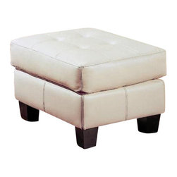 "Coaster - Ottoman (Cream) By Coaster - This ottoman from the Coaster Samuel Collection features cream colored bonded leather. Dims: 30"" X 24"" X 20""."