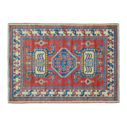 Area Rug, 100% Wool 4'X7' Tribal And Geometric Kazak Hand Knotted Rug SH11384 - This collections consists of well known classical southwestern designs like Kazaks, Serapis, Herizs, Mamluks, Kilims, and Bokaras. These tribal motifs are very popular down in the South and especially out west.