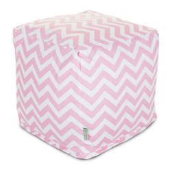 Majestic Home - Indoor Baby Pink Chevron Small Cube - This pattern points directly to your cool sense of style and perfectly suits your favorite casual setting. The cube itself — a versatile upgrade on the beanbag — works as a footstool, end table or comfy seat.