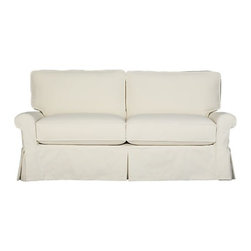 Bayside Full Sleeper Sofa - Casually dressed in cottage white, Bayside really knows how to take life easy. Its deep-cushioned, relaxed attitude fits any room, while its machine-washable skirted slipcover in a soft white cotton takes on everyday living. Petite rolled arms, deep seat and high back cushions sit big and comfortable. Sleeper mattress has a convenient locking headrest.
