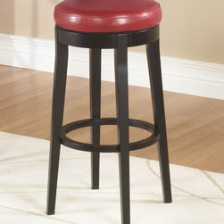 Armen Living - 26in. Backless Swivel Barstool in Red - Burnt red leather, 26 inches high, 360 degree swivel backless barstool. Fully padded seat with espresso wood finish legs.