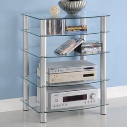 Walker Edison Everest Multilevel Component Stand - Clear / Silver