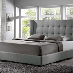 Baxton Studio - Baxton Studio Luna Grey Linen Platform Bed - Modern and minimalistic,the Luna Designer Bed is paramount for the most stylish and comfortable of bedroom retreats. This  upholstered platform bed frame is made of both hardwood and MDF and is fully upholstered in grey linen with underlying padding.