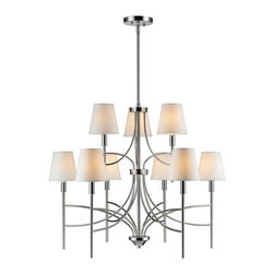 Golden Lighting - Golden Lighting Taylor CH 9 Light Taylor Chandelier - A classic form with modern details makes the Taylor collection a truly transitional style. Graceful arms and clean lines create a timeless design. Silken black tuxedo shades create drama, while white opal shades provide a soft warm light. Modern Chrome finish instantly updates any decor. Bath fixtures feature opal glass providing a pure white light. A chandelier creates a stylish focal point. Dramatically sized for prominent living and dining rooms or lobbys. Graciously sized for taller dining and living areas.  Wire Length: 10 foot.