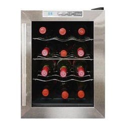 Vinotemp - 12 Bottle Thermoelectric Wine Cooler - The VT-12TEDS is an attractive freestanding cellar that features a black cabinet with stainless door trim and dual-paned glass window. Sturdy shelf racking is specially designed for individual bottle storage.