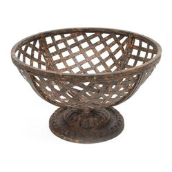 Metal Basket on Pedestal
