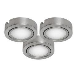 Bazz Lighting - Bazz Lighting U00033BC LED Series Three-Light Under Cabinet Puck Lights, Finishe - Bazz U00033BC LED Series Three-Light Under Cabinet Puck Lights, Finished in SilverBazz U00033BC Features: