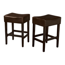 Duff Backless Brown Leather Counter Stools, Set of 2