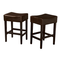 Great Deal Furniture - Duff Backless Brown Leather Counter Stools, Set of 2 - The bar has been raised: These are not your basic bar stools. Each one is built with natural hardwood in a handsome espresso finish, and offers a cushioned seat covered in smooth leather. Your soon-to-be favorite seat at the bar (or counter or kitchen island) is waiting for you.