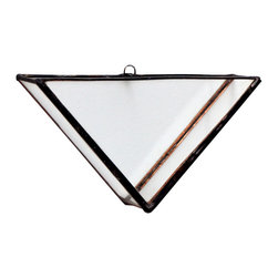 TRIANGLE TERRARIUM VASE / WINDOW BOX, Medium, Hookeye - These terrarium wall vases are made from hand cut glass, lead free solder, and brass findings. Each vase is carefully built by hand and made water tight so you can preserve fresh cut flowers and herbs or keep it mostly dry by planting succulents!