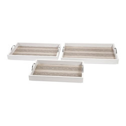 IMAX - Ethereal Snakeskin Trays - Set of 3 - Shake, shimmy or crawl on your belly like a reptile: Do whatever it takes to acquire this trio of white, leather-look serving trays with iron handles and lined in faux snakeskin.