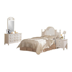 Seawinds Trading - Aruba White Wicker 4 Piece Nautical Shutter Style Bedroom Collection - This set ships free within 2 to 5 Days via Saia Trucking.