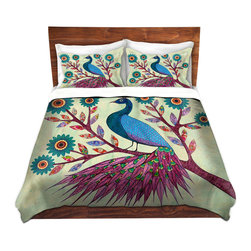 DiaNoche Designs - Duvet Cover Twill - Blue Peacock - Lightweight and soft brushed twill Duvet Cover sizes Twin, Queen, King.  SHAMS NOT INCLUDED.  This duvet is designed to wash upon arrival for maximum softness.   Each duvet starts by looming the fabric and cutting to the size ordered.  The Image is printed and your Duvet Cover is meticulously sewn together with ties in each corner and a concealed zip closure.  All in the USA!!  Poly top with a Cotton Poly underside.  Dye Sublimation printing permanently adheres the ink to the material for long life and durability. Printed top, cream colored bottom, Machine Washable, Product may vary slightly from image.