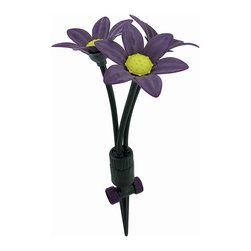 Zeckos - Rotating Lily Bendable Lawn Sprinkler 3-Head Spot Sprinkler Garden Stake - These purple Lilies are a fun and whimsical way to water your garden, patio or porch flower pots, or those landscaped lawn spots. Measuring approximately 11 inches high with an attached 7.5 inch long (28 X 19 cm) garden stake, this plastic spot sprinkler features three 4.25 inch (11 cm) diameter lily flowers with spot sprinkler discs that rotate in a circular pattern and easily adjust by bending each flower stem in any direction you choose making this sprinkler truly customizable to suit your watering needs Just as functional as it artful, this sprinkler makes a wonderful housewarming gift for a flower lover sure to be enjoyed