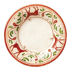 """Vietri Renna Reindeer Holiday Pasta Bowl Italian Dinnerware - The Renna pasta bowl is a festive piece for fall and the holidays. In Italian lore, the reindeer, or renna, is a thing of majesty and grace. Renna's rich, warm colors evoke nature, and the animal's graceful silhouette exudes elegance. Made of terra bianca and handpainted in Umbria. Dishwasher safe. This piece measures approximately 10.5""""D."""