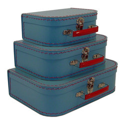 Cargo - Cargo Traveler Mini Suitcases, Set of 3, Soft Blue - Retro style mini suitcases.  Set of 3.  Super cute carry cases.  Delightful decorative storage for supplies, small toys, etc.  Unique gift packaging, party favors, craft project.  An eco-friendly product.