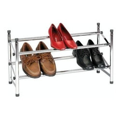 "Household Essentials - Expandable Shoe Rack, Chrome - Transform the bottom of your closet into an attractively ordered arena for your shoes with our convenient Expandable and Stackable Shoe Rack. Constructed of durable chrome-plated steel and able to expand up to 46"", with a locking bar to prevent over-expansion, this unit comfortably holds between 6 and 12 pairs of shoes."