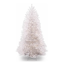 7 1/2 Ft. Dunhill Fir White Christmas Tree with 750 Clear Lights - Measures 7.5 feet tall with 59 inch diameter. Pre-lit with 750 UL listed, pre-strung Clear lights. Tip count: 2514. All metal hinged construction (branches are attached to center pole sections). Comes in three sections for quick and easy set-up. Includes sturdy folding metal tree stand. Light string features BULB-LOCK to keep bulbs from falling out. If one bulb burns out the others remain lit. Fire-resistant and non-allergenic. Includes spare bulbs and fuses. 1-year tree warranty / 2-year lights warranty. Packed in reusable storage carton. Assembly instructions included.