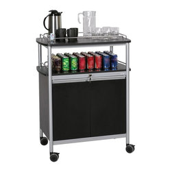 Safco - Beverage Serving Cart - 8964BL - Shop for Carts from Hayneedle.com! Add contemporary appeal and versatile functionality to any office or lobby with this attractive Beverage Serving Cart. It features a sleek and modern design with a melamine top and wire rails to prevent sliding and spills during transport. The lower open shelving can be used to hold refreshments or other beverages while the locking lower cabinet provides secure storage for other larger items and a has a single adjustable shelf. Take this cart where needed with the smooth-rolling and locking casters.About Safco ProductsSafco products were specifically developed to meet the changing needs of the business world offering real design without great expense. Each product is designed to fit the needs of individuals and the way they work by enhancing comfort and meeting the modern needs of organization in the workplace. These products encourage work-area efficiency and ultimately work-life efficiency: from schools and universities to hospitals and clinics from small offices and businesses to corporations and large institutions airports restaurants and malls. Safco continues to offer new colors new styles and new solutions according to market trends and the ever-changing needs of business life.