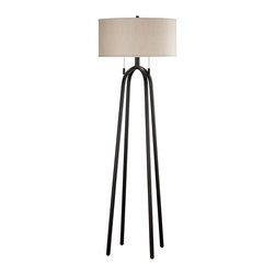Kenroy - Kenroy 21389ORB Quadratic Floor Lamp - Quadratic has a strong contemporary presence with a four leg stance.  A large, wide shallow drum shade and double pull-chain switches really set the style of this versatile lamp apart.