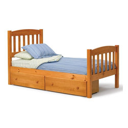 Chelsea Home - Twin Mission Bed with Underbed Storage - Mattress not included. Rustic style. Hand finished stain with three step process to compliment natural wood grain. Rails connect to bed ends by metal to metal machine bolt and t-nut for secure hold. Meet and exceed all of the following rules: ASTM F-1427-07, CFR 1213, CFR1513 and lead testing. Constructed for strength and durability. Warranty: One year. Made from solid pine wood. Honey finish. Made in Brazil. Assembly required. 84 in. L x 43 in. W x 45 in. H (105.8 lbs.)