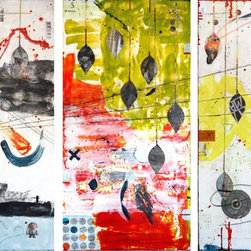 Dreamscape Triptych Artwork - Encaustic mixed media featuring bold colours and photographs. Each panel is 18 x 36.
