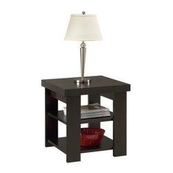 Ameriwood Hollow Core End Table - Like a faithful assistant, the Ameriwood Hollow Core End Table will stand ready next to your bed or couch, to hold up a lamp or just give you somewhere to set your drink. With a body of engineered wood covered by laminate in a black forest finish, this versatile little table is both light and strong. The top and each lower shelf have a weight limit of 50 lbs for whatever you can find to stack on it. This table can be assembled quickly with standard household tools.About AmeriwoodAmeriwood Industries is one of the leading manufacturers of wood and engineered wood products in the United States. For more than 30 years, Ameriwood has helped furnish homes across North America with ready-to-assemble furniture, including wood and metal furniture pieces for home office, entertainment, and bedroom.