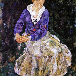 """Egon Schiele Portrait of the Artist's Wife, Seated - 18"""" x 24"""" Premium Archival - 18"""" x 24"""" Egon Schiele Portrait of the Artist's Wife, Seated premium archival print reproduced to meet museum quality standards. Our museum quality archival prints are produced using high-precision print technology for a more accurate reproduction printed on high quality, heavyweight matte presentation paper with fade-resistant, archival inks. Our progressive business model allows us to offer works of art to you at the best wholesale pricing, significantly less than art gallery prices, affordable to all. This line of artwork is produced with extra white border space (if you choose to have it framed, for your framer to work with to frame properly or utilize a larger mat and/or frame).  We present a comprehensive collection of exceptional art reproductions byEgon Schiele."""