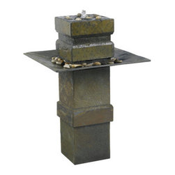 Kenroy Home - Kenroy Home 53210 Two Light Floor Fountain Cubist Collection - Cubist has a Zen inspired spirit. This stable and tranquil looking fountain is softened with subtle angles and a dark cool slate finish. Water spills over the top pool into the large stone accented angular tray.Requires 2 10w 12 V (MR-11) Base Bulb (Not Included)Polished River Stone Included