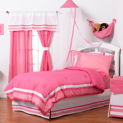 """Simplicity Hot Pink - Twin Set (6pc) - Let the simple side of Simplicity Hot Pink bring out the sweetness in your room!  Simplicity Hot Pink is nothing too sweet for any personality!  Beautiful hues of pink with white throughout make the most of this set.  This 6pc set includes twin comforter, twin bed skirt,  twin flat sheet, twin fitted sheet, 1 standard pillowcase, 1 standard flanged pillow sham. Comforter comes a beautifully framed design in shades of pink, light pink and white.  Opposite side is in solid darker pink.  All in cotton print fabric.  Flat and fitted sheets come with our signature """"Pink Dots"""" cotton print fabric.  Standard pillowcase comes in solid pink and trim in """"Pink Dots"""" cotton print fabrics.    Bed skirt designed with lines of white and both color pinks in cotton print fabric.  Standard flanged sham designed to replicate comforter in design.  All in cotton print fabric.    SAVE WHEN YOU BUY AS A SET!"""